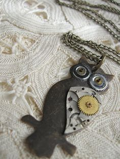 Clockwork Owl  - Steampunk Necklace  Vintage Upcycled Watch Parts - by Keytiques, $35.00