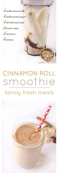 Healthy Meals For Kids Cinnamon Roll Smoothie! Taste just like a cinnamon bun shoved into a glass. - Cinnamon Roll Smoothie is great! Just imagine taking all the sweet, sticky, spicy indulgence of a fresh-baked cinnamon roll and cramming it into a glass. Smoothie Drinks, Healthy Smoothies, Healthy Drinks, Healthy Eating, Clean Eating, Breakfast Smoothie Recipes, Ninja Smoothie Recipes, Ninja Recipes, Detox Drinks