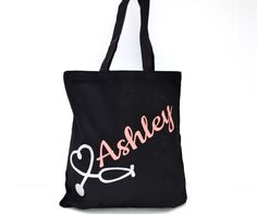 Personalized nurse tote bags are excellent gifts for nursing students, recently graduated nurses, medical students etc.! They are perfect for carrying around books, pens, notebooks, stethoscopes, you name it! DETAILS - Our heavy canvas tote bag is made to carry a heavy load and to last years of u