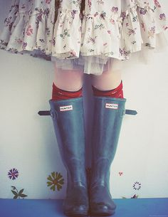 wellies with skirt: i love wellies. i love wellies with dresses and skirts! found on 'flickr'