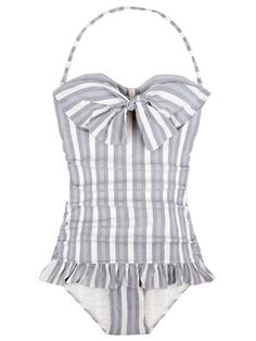 Cute little retro swimsuit! I like how the stripes go the right way. :)