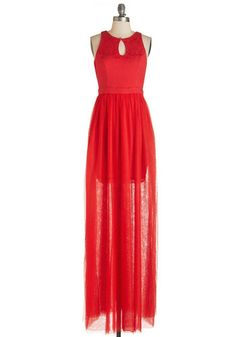 Embraced by Elegance Dress. You feel the magic of the evening as you don this striking red gown! #gold #prom #modcloth