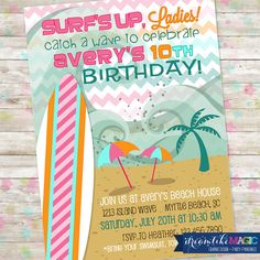 Summer Invitation, Beach Party, Surf Party, Tween Party Invitation, Surfing, Girls, Girly, Beach House, Pool Party, Printable, DIY, Chevron
