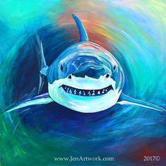 Shark Attack-Giclee by Jen Callahan Canvas Wrap,Tile,Cuttingboard, Great White Shark Art Shark Painting, Acrylic Painting Canvas, Canvas Art, Animal Drawings, Art Drawings, Shark Art, Desenho Tattoo, Fantasy Paintings, Great White Shark
