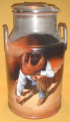 western cowboy hand painted milk cans cowboy coin milk can