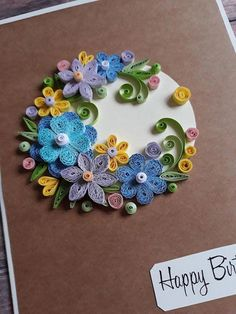 Quilling Birthday Card with Blue, Purple and Yellow Flowers, Happy Birthday Card, Greeting Card Quilling Birthday Cards, Paper Quilling Cards, Paper Quilling Designs, Bday Cards, Quilling Patterns, Happy Birthday Cards, Quilling Dolls, Quilling Flowers, Quilling Art