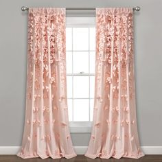 Lush Decor Riley Curtain Sheer Ruffled Textured Bow Window Panel for Living, Dining Room, Bedroom (Single) x Blush Pink Curtains, Colorful Curtains, Window Curtains, Curtains For Girls Bedroom, Baby Girl Curtains, Curtains Kohls, Blackout Curtains, Bedrooms, My New Room