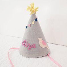 Girls Felt Birthday Hat - Bird with Bunting - Gray and Pink