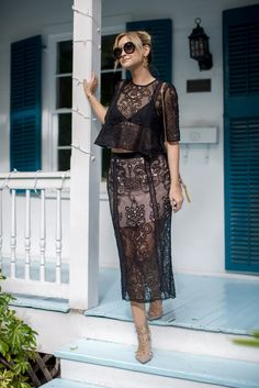 Black lace skirt and top set. Sexy yet chic for a spring night out.