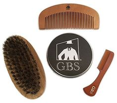 GBS Combo Set 3 Pc Kit Premium Oval Wood Beard Brush with Boar Bristles Bamboo All Fine Beard Comb  Tortoise Pocket Beard and Moustache Comb * Check this awesome product by going to the link at the image.