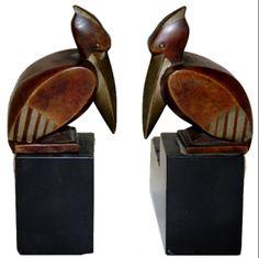 Stylized bird.Art deco bookends