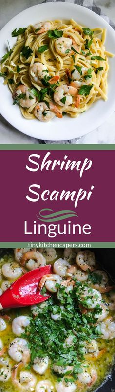Shrimp scampi deliciousness; lemon, garlic, and wine, tossed with linguine and shrimp for a quick and easy flavor-packed weeknight meal.   tinykiychencapers.com