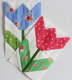 Paper pieced tulips