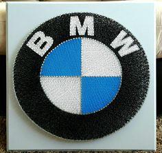 "20"" x 20"" BMW logo string art"