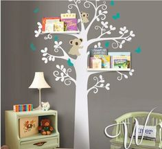 Wall Sticker Art Murals Stickers Decal Decor Removeable Cute Bear Tree  Sheving Tree With Leaf Leaves Bird Shelves Shelf Birds Room House Part 34