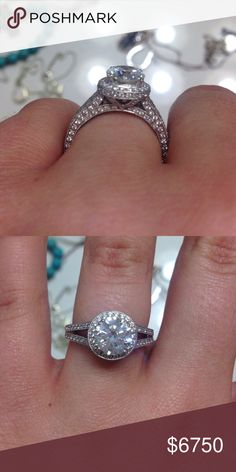 Engagement Ring / Diamond Ring 18k white gold diamond ring. All the stones are diamonds. This ring is absolutely stunning! The pictures do not do it justice. It is hard to let go but just too big of a ring for me. Paid over 9,000. Looking for $6,750. I do not have a receipt but I do have a copy of the appraisal papers. I can post more pictures if needed. Please comment for more info. Jewelry Rings