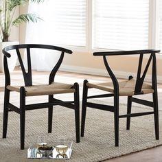 Baxton Studio Wishbone Modern Black Wood Dining Chair With Light Brown Hemp  Seat