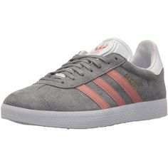 Amazon.com   adidas Originals Women's Gazelle W Sneaker, Grey/Raw... (275 AED) ❤ liked on Polyvore featuring shoes, sneakers, grey shoes, wide fit shoes, white sneakers, adidas originals sneakers and pink shoes