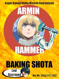 """Armin hammer! I'm only pinning this because of """"baking shota"""" lol I swear this fandom has lost it."""
