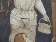Oratorio di Santo Stefano at Lentate sul Seveso (MB, Lombardia, Italy); Crucifixion (detail) Master of Lentate, 1369-1375 c.  Interesting detail of the belt passing through the upper hem of the pants, from which we can see a few dangling laces, meant for hanging a detached hose; there're further iconographical sources showing this kind of solution, a typical one in 14th c. and still being adopted at least until mid-15th c.