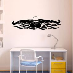 Butterfly Swimmer Removable Wall Decal - Our swimming decal is easily applied to any dry and smooth surface.