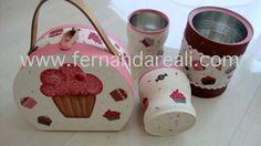 Latinhas recicladas com tecido de cupcakes, lindas!