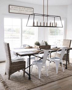 Terrific modern farmhouse dining room chandelier lighting lantern style The post modern farmhouse dining room chandelier lighting lantern style… appeared first on Home Decor Designs Trends . Farmhouse Dining Room Lighting, Casual Dining Rooms, Dining Room Light Fixtures, Dining Lighting, Dining Room Sets, Dining Room Design, Chandelier Lighting, Farmhouse Chandelier, Industrial Dining