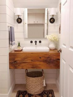 Reclaimed Wood Vanity, Reclaimed Barn Wood, Tiny Half Bath, Small Half Baths, Floating Vanity, Floating Bathroom Vanities, Diy Bathroom Vanity, Bathroom Ideas, Small Bathroom Sinks