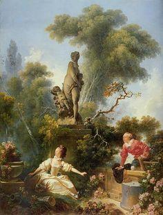 Trademark Fine Art 'The Progress Of Love The Meeting' Canvas Art by Jean Honore Fragonard, Size: 35 x Green