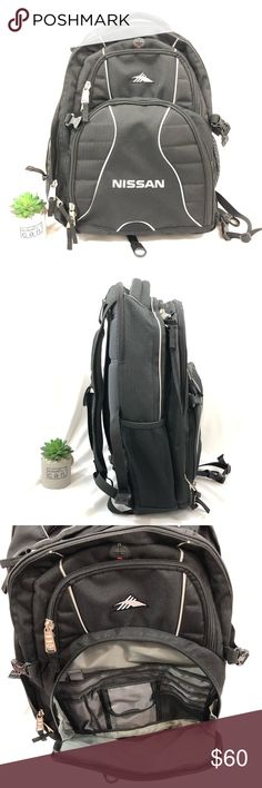 """High Sierra Backpack: Nissan Logo NWOT Nissan logo'd backpack.  Water bottle holders on each side.  Front zippered area has multiple small pockets and key ring latch.  Pocket above it opens to the 1st pocket.. Round plastic opening to thread headset through.  3rd small pocket on top is 5"""" deep. 2 back zippered area open to where you would place your laptop/iPad.  Has 1 divider.  Back of the pack is heavily protected when you lie it down so your electronics won't easily damage.  Quality Backpack for the Nissan enthusiast. High Sierra Bags Backpa"""