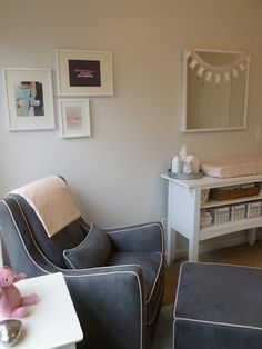 Nursery.....Love the colors and really loving that recliner fabric & color. Good choice! Not too girly, but very soft and pretty.