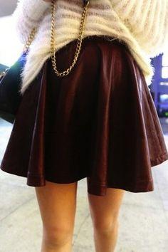 BURGUNDY / BLACK High Waisted Super Full Skater Pleather Pleated Leather Skirt