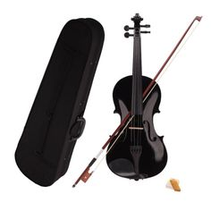 New 4/4 Full Size Acoustic Violin Fiddle Black Color + Case + Bow + Rosin