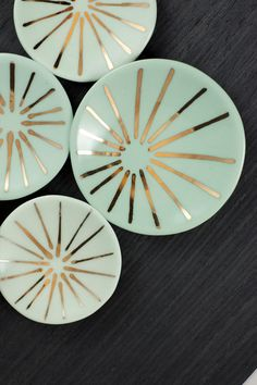 Porcelain Ring Dish with Gold Burst Pattern  375 by tiffinstudio, $30.00