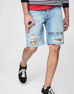 Pull&Bear - hombre - ropa - bermudas - bermuda denim print texto - azul - 05695801-V2017