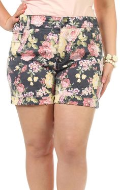 Deb Shops plus size navy and pink #floral #shorts