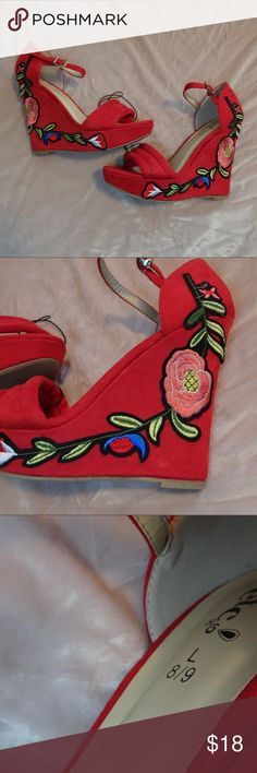Floral Wedges So cute!  Velvety feel!  Buckles around the ankle. Shoes Wedges