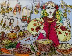 Glass Painting Cooking Ukrainian Folk Art by elena on Etsy