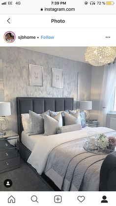 Let's hope this lovely weather stays ☀️? It will be a nice short week at work for me… Grey Bedroom Decor, Silver Bedroom, Room Ideas Bedroom, Home Bedroom, Master Bedroom, Small Grey Bedroom, Mirrored Bedroom Furniture, White Furniture, Dream Rooms