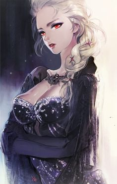 She looks like Elsa. Her boobs seem a bit weird but I like the outfit.