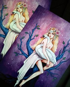 Fine art print of my original illustration goddess goddess of love and beauty Lada to a series of works on the theme of Slavic mythology #art #illustration #slavic #lada #goddess #swan