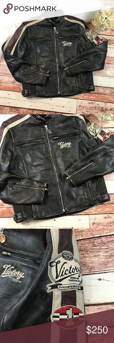 Vintage victory motorcycle leather bomber jacket Authentic vintage victory leather bomber motorcycle jacket! Size medium in men's. Would fit a medium to large in Women's depends on your measurements! This is such a bad ass jacket and great for fall! Pair it with ripped skinny jeans and a bad ass pair of boots! Measurements are included in photos! ***NO modeling or trades!! Vintage Jackets & Coats