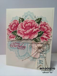 Stampin' Up!, Doily Blossoms Lace Birthday, Stippled Blossoms, That's the Ticket, The Open Sea, Simply Sketched, Hello, Doily, Ticket Duo Builder Punch, 5/8 Crochet Trim, Very Vintage Designer Button, Linen Thread