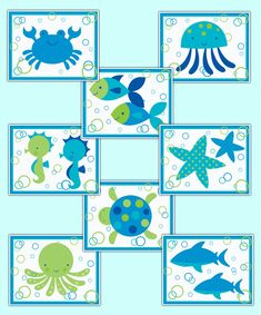 Sea Life Ocean Animal Creatures Wall Art Prints Baby Boy Girl Nursery Room Decor