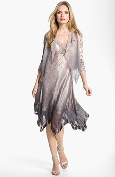 Komarov Ombré Charmeuse Dress & Jacket (Petite) | Nordstrom