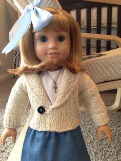 American Girl doll casual jacket pdf knitting by AGdollknits