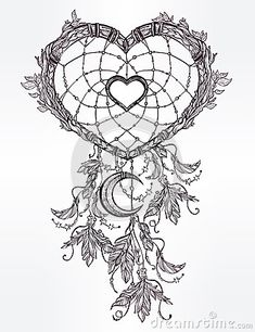 Heart shaped dream catcher with moon.