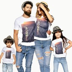 Matching Family T-shirts, Matching Family Outfit, Matching Tees, Graphic Tees, Summer Shirts, Dad Matching, Family Shirts, Summer Family Matching Family T Shirts, Matching Outfits, Matching Clothes, Matching Couples, Summer Family Pictures, Family Photos, Summer Denim, Summer Shirts, Family Picture Outfits