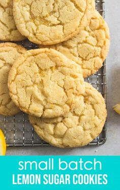 These Small Batch Lemon Sugar Cookies are soft and chewy and with the perfect amount of citrus to bring some sunshine to your day. One bowl and no chill--this easy recipe will be a new favorite for the whole family! Chip Cookie Recipe, Cookie Recipes, Dessert Recipes, Brownie Recipes, Lemon Sugar Cookies, Sugar Cookies Recipe, Small Batch Sugar Cookie Recipe, Small Batch Of Cookies, School Cookies Recipe