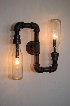 Industrial Wall Vanity Light steampunk pipe lamp by RoscaLights..... Cool DIY Wall Sconce. ~vb.